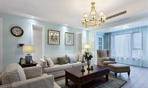 大户型现代简约美式风格客厅带阳台装修效果图赏析