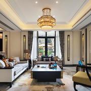 现代中式风格奢华别墅客厅吊灯装修效果图