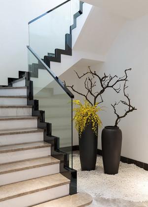 现代中式风格复式楼大理石楼梯装修效果图