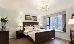 15平米美式简约风格卧室带飘窗装修效果图