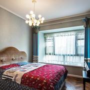20平米美式混搭风格女生卧室飘窗装修效果图