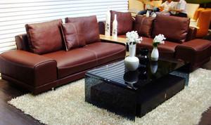 精致时尚客厅皮沙发装修效果图大全