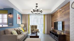 三居室现代美式风格清新客厅装修效果图