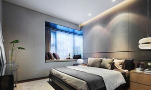 10平米后现代简约风格中冷色调卧室飘窗装修效果图