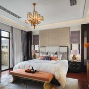 现代简约中式风格卧室带阳台装修效果图赏析