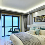 20平米现代简约风格卧室落地窗装修效果图赏析