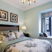 15平米美式田园风格卧室带飘窗装修效果图赏析