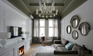 三居室新古典主义风格客厅吊顶装修效果图