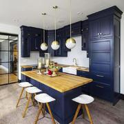 现代简约美式风格大户型开放式厨房吧台效果图赏析