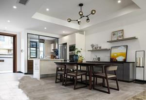 34平米后现代简约风格开放式厨房餐厅效果图