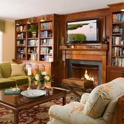 美式乡村风格大户型客厅壁炉装修效果图赏析