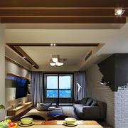 120平米三室一厅后现代风格客厅天花效果图