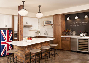 美式简约风格小户型厨房吧台效果图