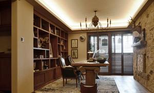 复古美式风格别墅室内书房博古架装修效果图