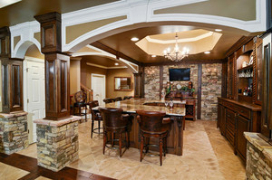 200平米古典欧式风格别墅餐厅酒柜装修效果图