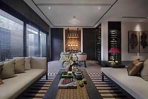 现代简约中式风格三室两厅两卫装修效果图赏析
