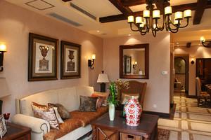 189平米美式乡村风格古朴自然别墅室内装修效果图