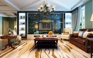 156平米欧式田园风格四居室客厅大理石背景墙装修效果图