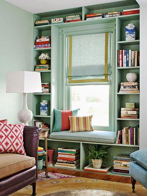 10平米美式田园风格书房飘窗装修效果图赏析