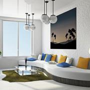 30平米都市清新风格客厅创意沙发装修效果图赏析