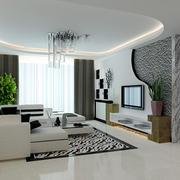 36平米现代简约风格客厅电视背景墙设计装修效果图