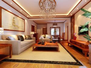 现代简约中式风格客厅挂画装修效果图赏析