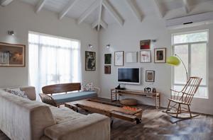 25平米现代简约美式风格客厅照片墙装修效果图赏析