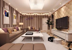 40平米现代简约风格客厅条纹墙纸装修效果图