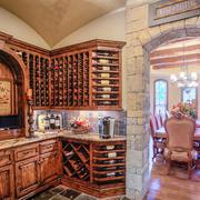 10平米仿古美式风格别墅室内酒柜装修效果图