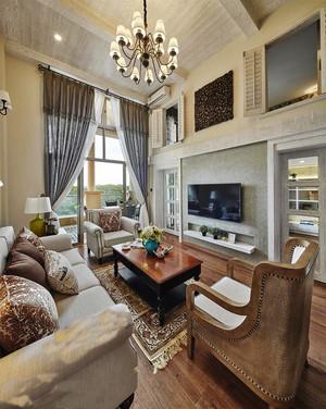 现代美式风格别墅室内客厅窗帘装修效果图