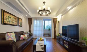 18平米现代简约中式风格客厅带阳台装修效果图