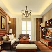 16平米现代中式风格客厅吊顶装修效果图