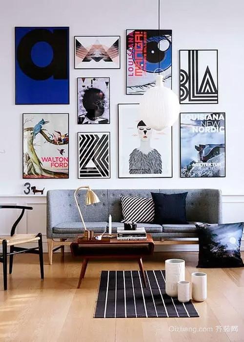 北欧风格单身公寓客厅照片墙效果图鉴赏