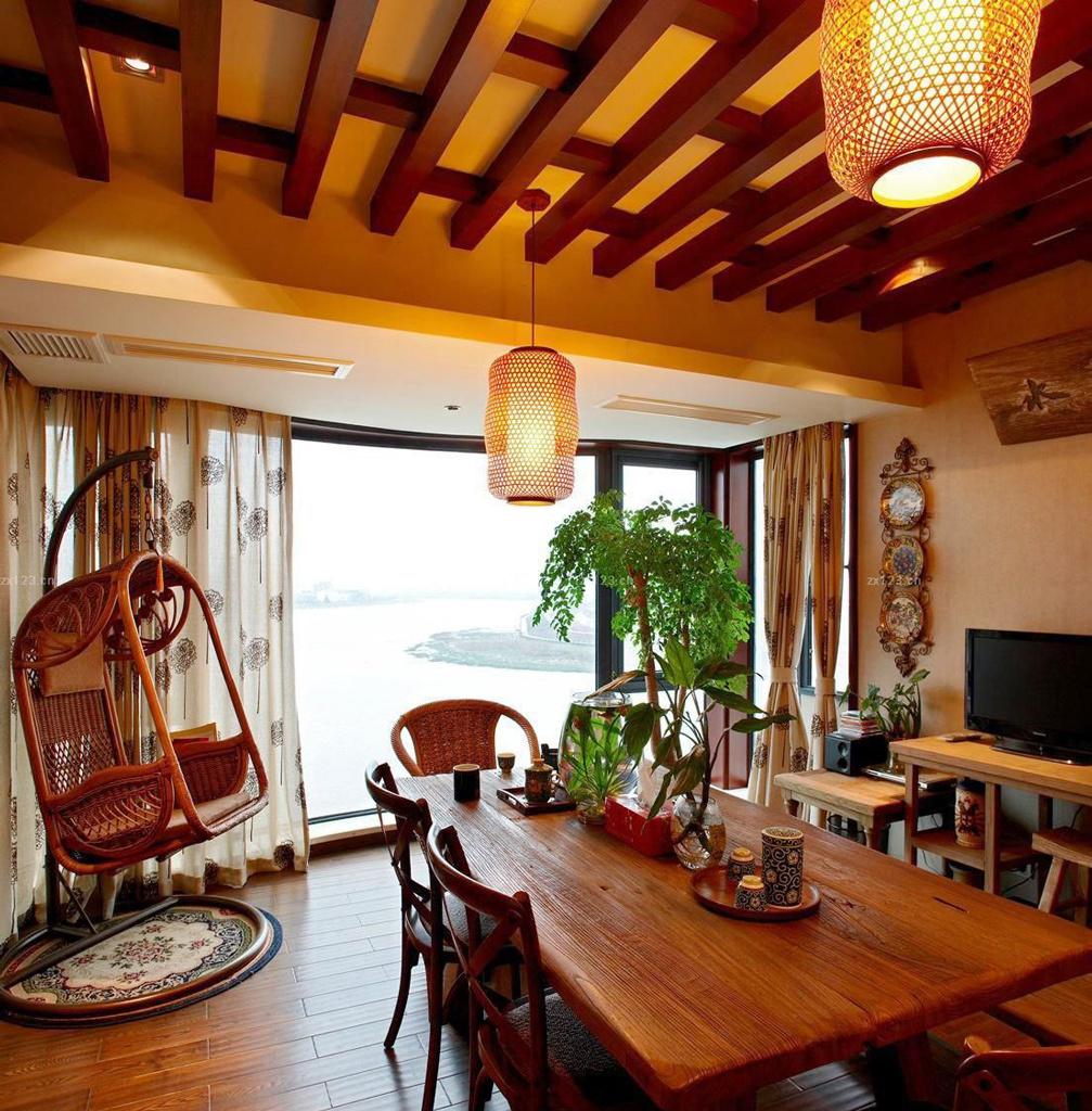 东南亚风格别墅客厅红木家具效果图赏析