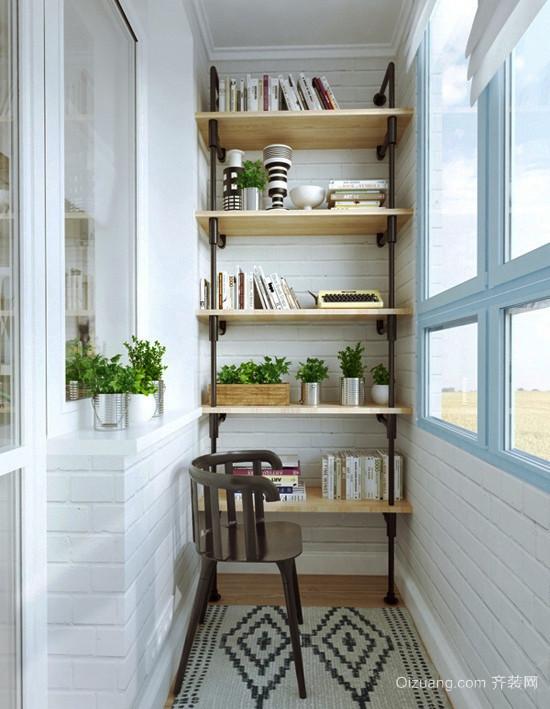 都市简约风格三居室阳台改书房效果图赏析