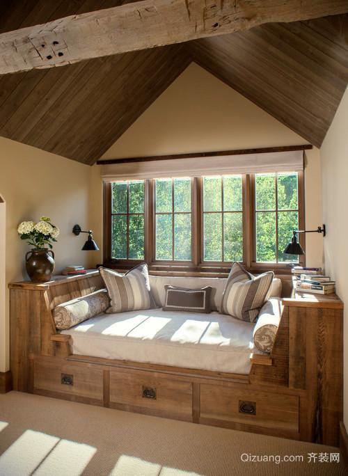 120平米现代原木风格阁楼飘窗设计效果图赏析