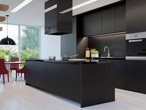 26平米后现代风格黑色主题厨房效果图赏析