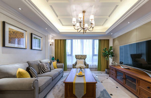 现代美式风格四居室室内装修效果图赏析