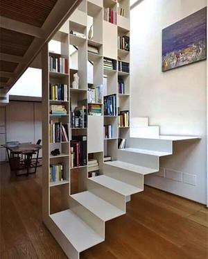 现代风格复式楼创意楼梯书架设计效果图赏析
