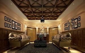 美式乡村风格大户型客厅吊顶效果图鉴赏