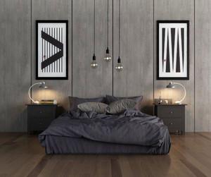 都市简约风格男生公寓中性冷调卧室装修效果图