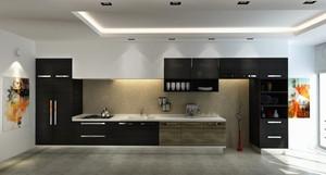 后现代风格复式楼黑色主题厨房装修效果图鉴赏
