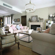美式风格大户型客厅壁炉效果图赏析
