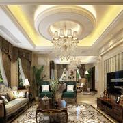 欧式风格别墅客厅窗帘效果图赏析