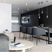 100平米现代简约风格黑色主题餐厅装修效果图