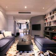 现代简约风格二居室客厅书房装修效果图赏析