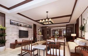 现代简约中式风格大户型客厅装修效果图赏析