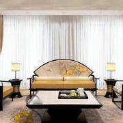 120平米现代简约中式风格客厅沙发效果图赏析
