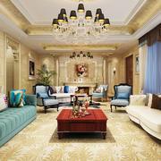 现代美式风格别墅长方形客厅装修效果图鉴赏