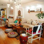 70平米现代美式混搭风格客厅装修效果图鉴赏